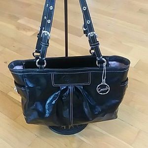 Black coach leather handbag